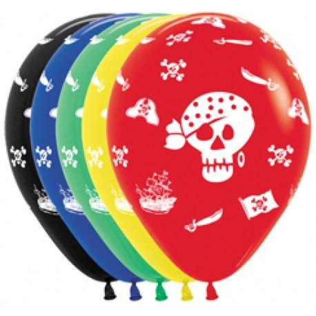 Воздушный шар Пираты, ассорти, пастель, 30 см.