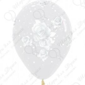 Воздушный шар 30 см розы,прозрачный.