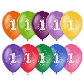 Воздушный шар 30 см цифра один, ассорти, пастель.