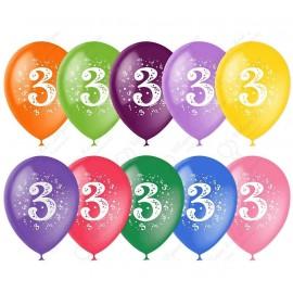 Воздушный шар 30 см цифра три, ассорти, пастель.
