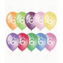 Воздушный шар 30 см цифра шесть, ассорти, пастель.