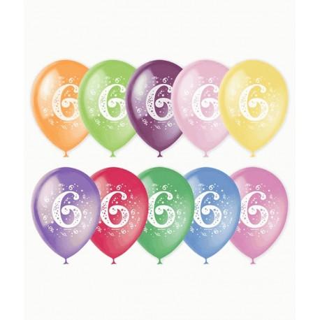 Воздушный шар - цифра шесть, 30 см.
