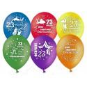 Воздушный шар 30 см, С 23 февраля , ассорти, пастель.