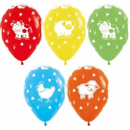 Воздушный шар - Веселая ферма, ассорти, пастель, 30 см.