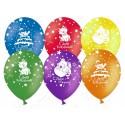 Воздушный шар 30 см С Днем рождения! (милые животные), ассорти, пастель.