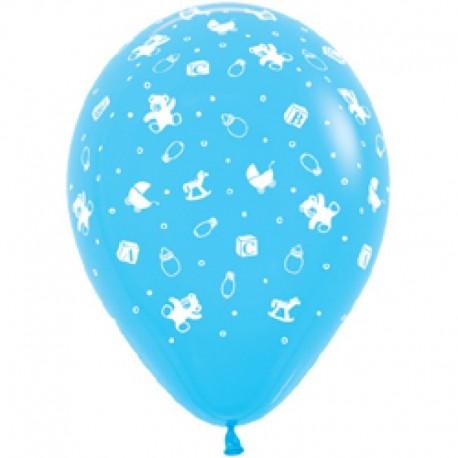 Воздушный шар - С рождением мальчика!, светло-голубой, пастель, 30 см.