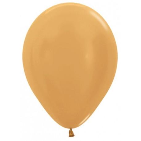 Воздушный шар золото яркое, металлик для запуска в небо - 30 см.