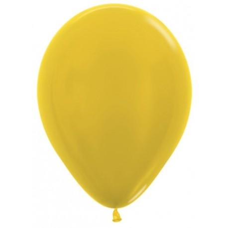 Воздушный шар желтый, металлик для запуска в небо, 30 см.
