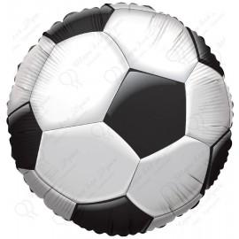 Фольгированный круг - мяч футбольный, черный. 46 см.
