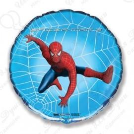 Фольгированный круг - Человек Паук 3, синий. 46 см.