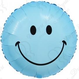 Фольгированный круг - Смайл, голубой. 46 см.