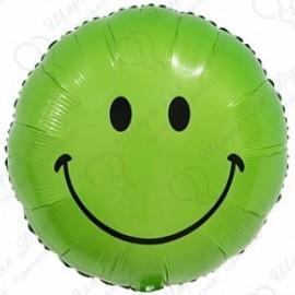 Фольгированный круг - Смайл, зеленый. 46 см.