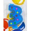 Свеча для торта, цифра 3, красочная.