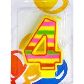 Свеча для торта, цифра 4, красочная.