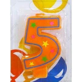 Свеча для торта, цифра 5, красочная.