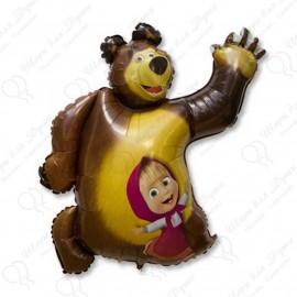 Фигурный шар - Маша и Медведь.