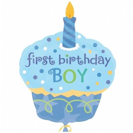Фигурный шар - Пирожное, первый День Рождения мальчика. 86 см.