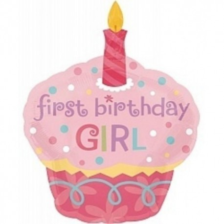 Фигурный шар - Пирожное, первый День Рождения девочки. 86 см.