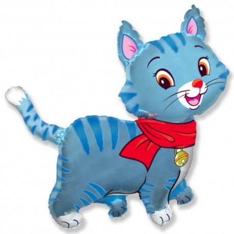 Фигурный шар - Любимый котенок, синий. 81 см.