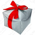 Фигурный шар - Куб, подарок с бантиком, серебро.