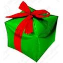 Фигурный шар - Куб, подарок с бантиком, зеленый.