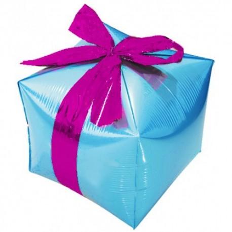 Фигурный шар - Куб, подарок с бантиком, голубой. 71 см.