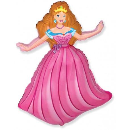 Фигурный шар - принцесса, розовый. 81 см.