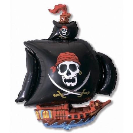 Шар - пиратский корабль, черный., черный. 104 см.