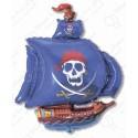 Фигурный шар - пиратский корабль, синий.
