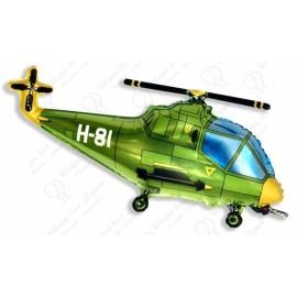 Фигурный шар - вертолет зеленый.