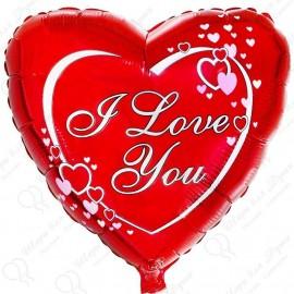 Фольгированное сердце - влюбленные сердца. 46 см.