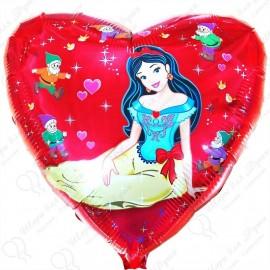 Фольгированное сердце - Белоснежка.