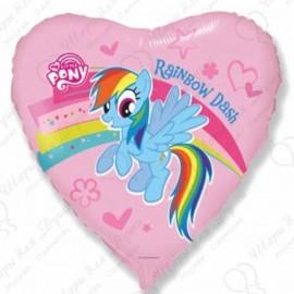 Фольгированное сердце - Пони радуга.