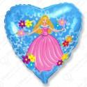 Фольгированное сердце - Принцесса, голубой.