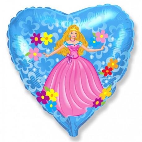 Фольгированное сердце - Принцесса, голубой. 46 см.