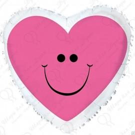 Фольгированное сердце с улыбкой, розовое.