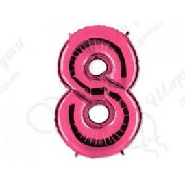 Фольгированная цифра 8, розовый 102 см.
