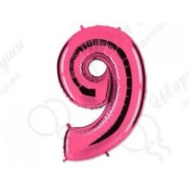 Фольгированная цифра 9, розовый 102 см.