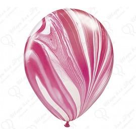 Воздушный шар - супер агат, красно-белый, 30 см.