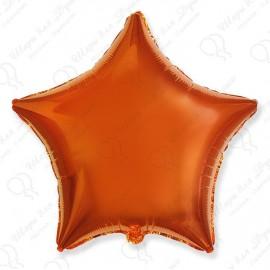 Фольгированный шар 46 см оранжевая Звезда.