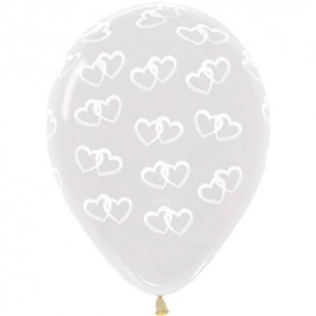 Воздушный шар - Два сердца, прозрачный, 30 см.