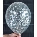 Воздушный шар с конфетти (мелкие квадраты) - серебро.