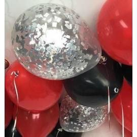Воздушный шар с конфетти - серебро (квадраты). 30 см.