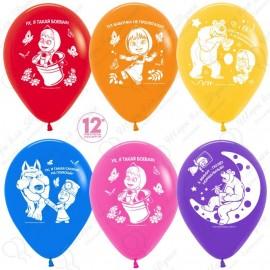 Воздушные шары Маша и медведь, ассорти, пастель, 30 см.