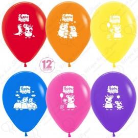 Воздушные шары Свинка Пеппа, ассорти, пастель, 30 см.