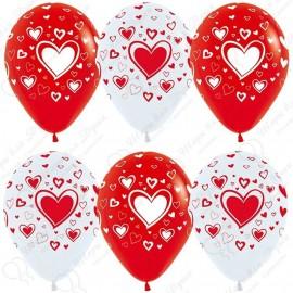 Воздушный шар множество сердец, бело-красный, 30 см.