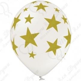 Воздушный шар золотые звезды, белый, 30 см.