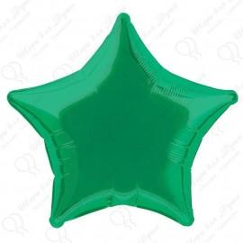 Фольгированный шар 46 см Звезда зеленая.