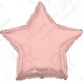 Фольгированный шар 46 см Звезда, Розовое Золото.