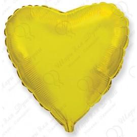 Фольгированное сердце золотое, малое, 46 см.